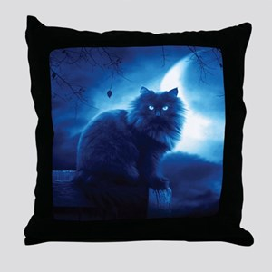 Black Cat In The Night Throw Pillow