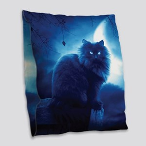 Black Cat In The Night Burlap Throw Pillow