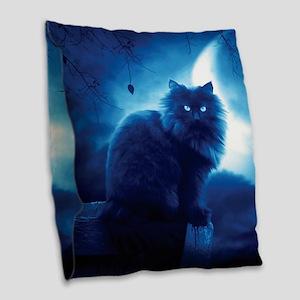 Black Cat In The Night Burlap Throw Pillow