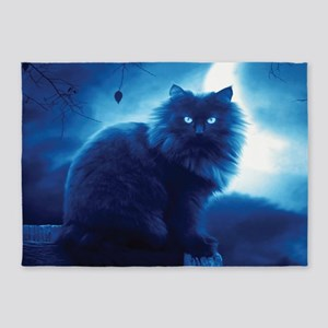 Black Cat In The Night 5'x7'Area Rug