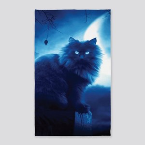 Black Cat In The Night Area Rug