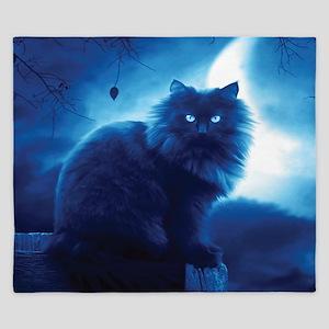 Black Cat In The Night King Duvet