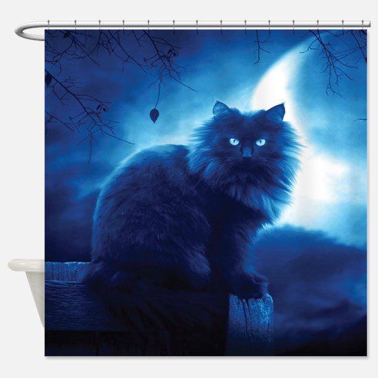 Black Cat In The Night Shower Curtain