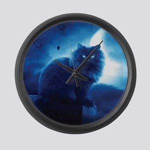 Black Cat In The Night Large Wall Clock