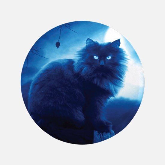 Black Cat In The Night Button