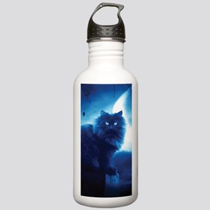 Black Cat In The Night Sports Water Bottle