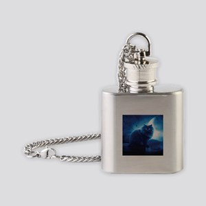 Black Cat In The Night Flask Necklace