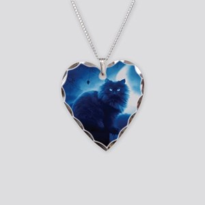 Black Cat In The Night Necklace Heart Charm