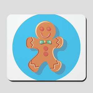 Blue Circle Gingerbread Man Mousepad