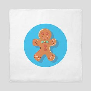 Blue Circle Gingerbread Man Queen Duvet