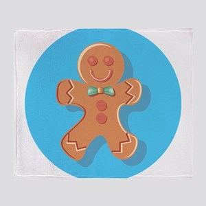Blue Circle Gingerbread Man Throw Blanket