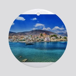 Paradise on the Greek Shore Round Ornament