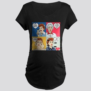 I Love Lucy Valentine's Day Maternity Dark T-Shirt