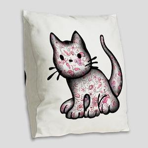 Pink Kitty Burlap Throw Pillow
