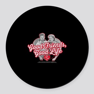 Lucy and Ethel:Good Friends Good Round Car Magnet