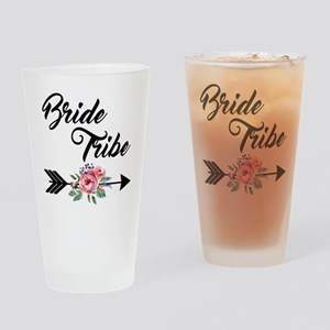 Bride Tribe Floral Arrow Drinking Glass