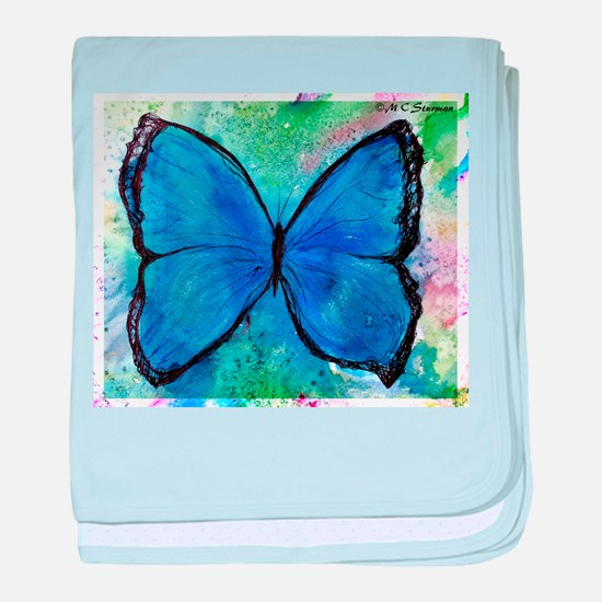 blue butterfly! colorful nature art! baby blanket