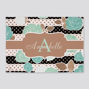Modern Watercolor Floral Monogram 5'x7'are