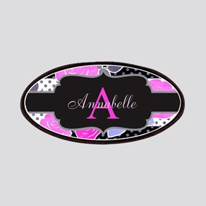Chic Floral Stripes Monogram Patch
