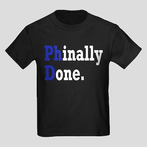 Phinally Done Graduate Student H Kids Dark T-Shirt