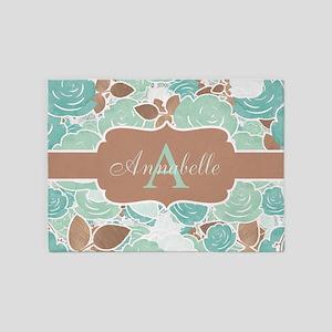 Chic Mint Floral Monogram 5'x7'area Rug