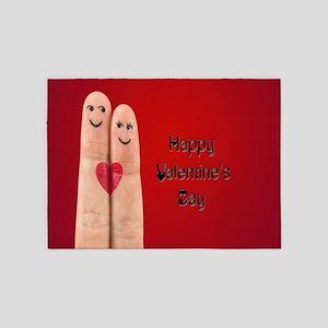 Happy Valentines Fingers 5'x7'Area Rug