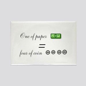 one of paper equals four of coin Magnets
