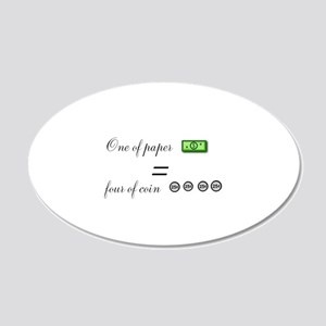 one of paper equals four of coin Wall Decal