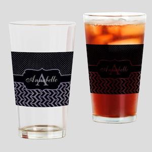 Modern Dot Arrow Monogram Drinking Glass