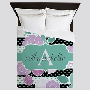 Chic Modern Watercolor Monogram Queen Duvet