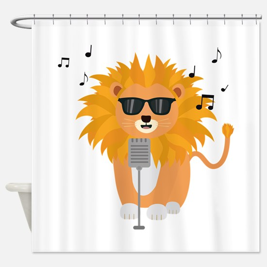 Cool music lion Shower Curtain