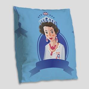 queen elizabeth 2 Burlap Throw Pillow
