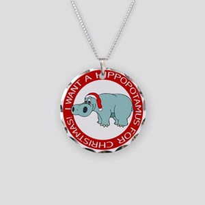 Hippo for Christmas Necklace Circle Charm