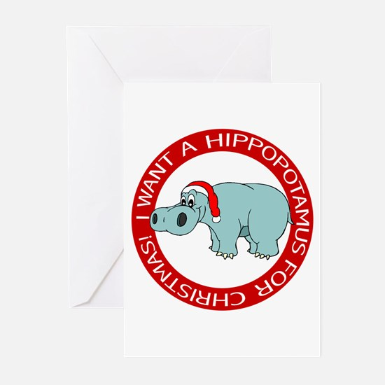 Christmas Hippo Greeting Cards