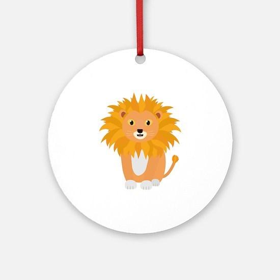 Cute happy Lion Round Ornament