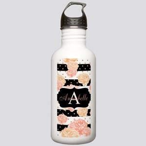 Peach Floral Monogram Water Bottle