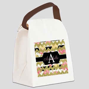 Chic Gold Chevron Monogram Canvas Lunch Bag