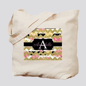 Chic Gold Chevron Monogram Tote Bag