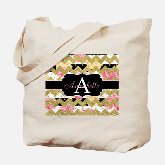 Chic Gold Chevron Monogram Tote Bag