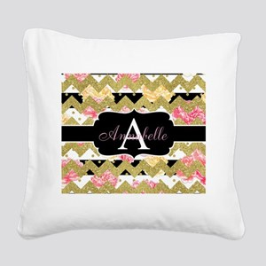 Chic Gold Chevron Monogram Square Canvas Pillow
