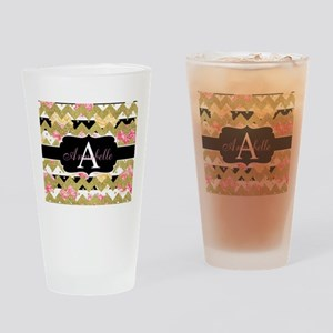 Chic Gold Chevron Monogram Drinking Glass