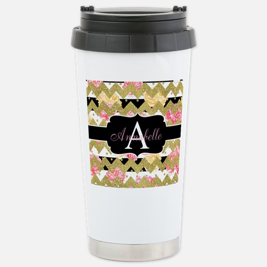 Chic Gold Chevron Monogram Travel Mug