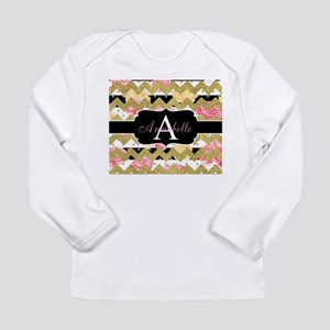Chic Gold Chevron Monogram Long Sleeve T-Shirt