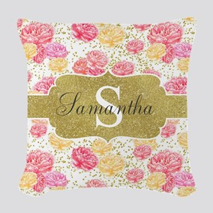 Shabby Chic Floral Monogram Woven Throw Pillow