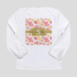 Shabby Chic Floral Monogram Long Sleeve T-Shirt