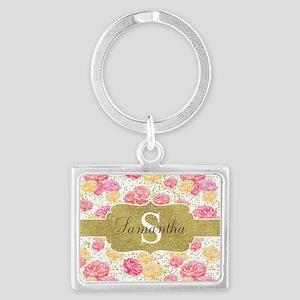 Shabby Chic Floral Monogram Keychains