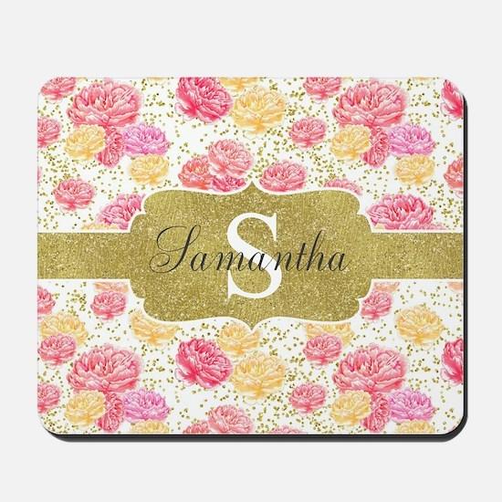 Shabby Chic Floral Monogram Mousepad