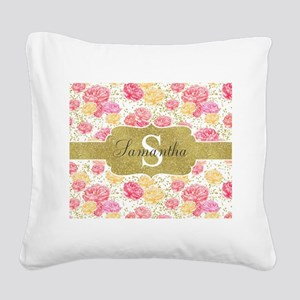 Shabby Chic Floral Monogram Square Canvas Pillow