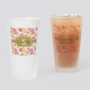 Shabby Chic Floral Monogram Drinking Glass
