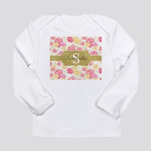 Shabby Chic Floral Monogram Long Sleeve T-Shirt